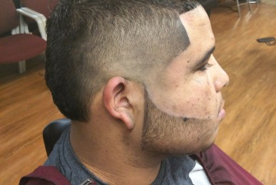 Burst Fade w Crisp Beard Line-up by the Denton Barber
